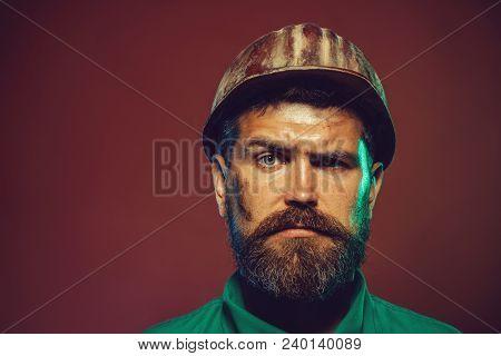 Hard Work. Portrait Of Handsome Engineer. Man Builder. Business, Building, Industry, Technology - Bu