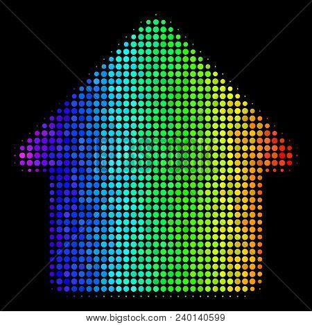 Pixel Bright Halftone Cabin Icon Drawn With Rainbow Color Tones With Horizontal Gradient On A Black