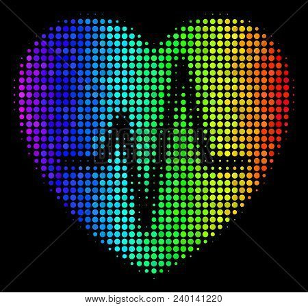 Pixel Bright Halftone Cardiology Icon Drawn With Spectral Color Tinges With Horizontal Gradient On A