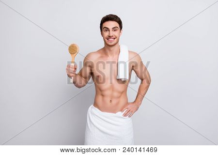 Handsome, Attractive Guy With Bristle, Stubble And Towel On Shoulder, Presenting Fetlock In Arm, Loo