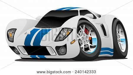 Hot American Style Super Car Cartoon Vector Illustration, White Glossy Paint With Blue Stripes, Huge