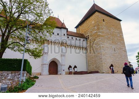 France, Annecy - May 01, 2018: The Castle Of Annecy Is An Old Castle Of The Thirteenth Century, Reno