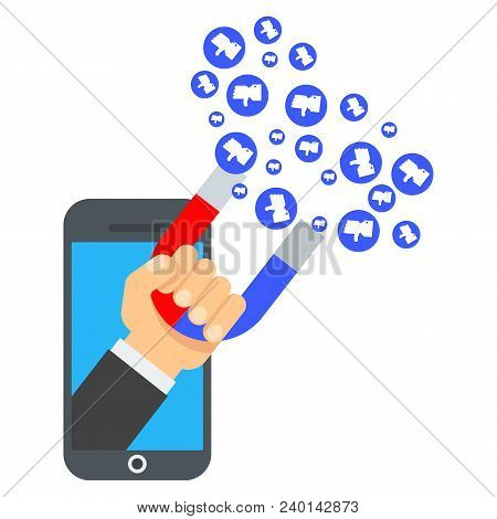 Attraction Of Likes In Computer. Flat Vector Cartoon Illustration. Objects Isolated On White Backgro