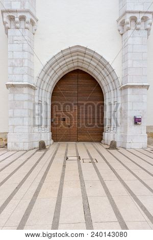 France, Annecy - May 01, 2018: Detail Of The Entrance Gate With Tourist Information Of The Castle Of