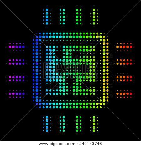Pixelated Bright Halftone Cpu Circuit Icon In Spectrum Color Hues With Horizontal Gradient On A Blac