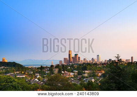 Central District Neighborhood And Downtown Of Seattle, Washington, Usa