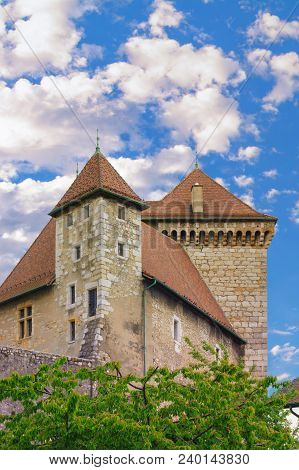 France, Annecy - May 01, 2018: Detail Of A Tall Tower Of The Castle Of Annecy, Renovated Several Tim