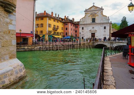 France, Annecy - May 01, 2018:church Of San Francesco Di Salesl Is The Main Catholic Place Of Worshi