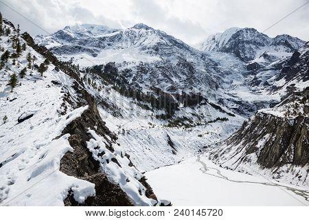 Scenic View Of Gangapurna Glacier. Annapurna Circuit Trek. Nepal. Himalayas And Lakes. Image Of Froz