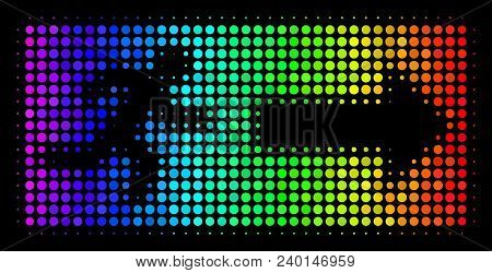 Dotted Colorful Halftone Emergency Exit Icon In Rainbow Color Shades With Horizontal Gradient On A B