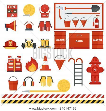 Set Of Fire Equipment. Vector Fire Man Tools . Flat Cartoon Fire Equipment Objects Isolated On White