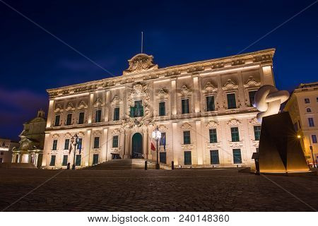Auberge Castille At Night, Valletta, Malta, Eu