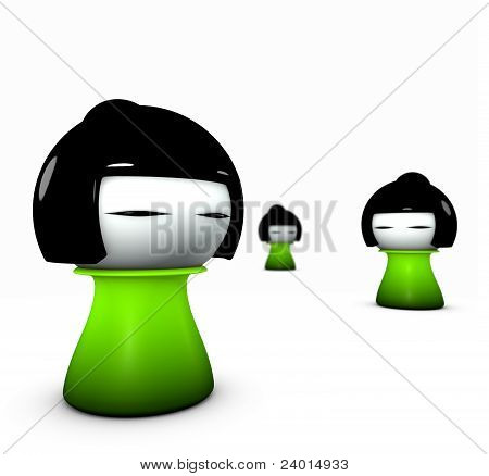 3D Render Of 3 Funny Green Girl Japanese Doll Type