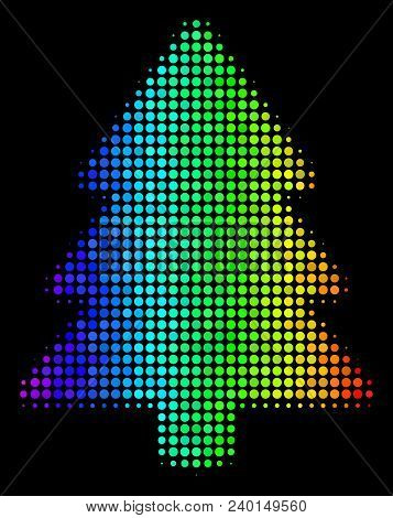 Dot Colorful Halftone Fir-tree Icon In Spectrum Color Shades With Horizontal Gradient On A Black Bac