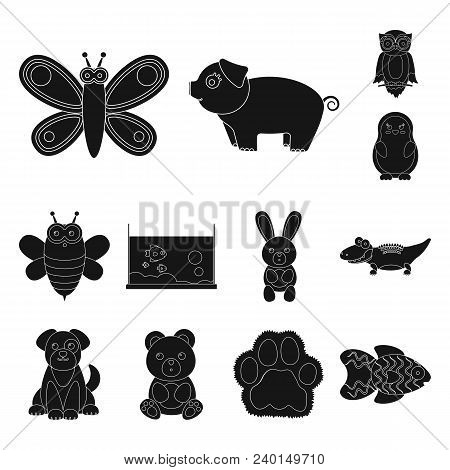 An Unrealistic Black Animal Icons In Set Collection For Design. Toy Animals Vector Symbol Stock Illu
