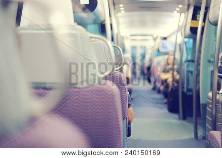 Blurred Of Stack Seat In Train. Emtpy Interior Of The Train.