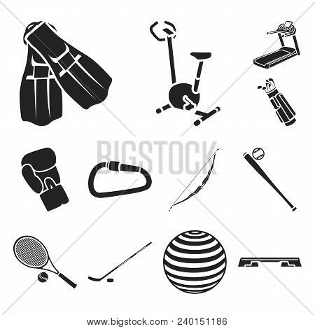 Different Kinds Of Sports Black Icons In Set Collection For Design. Sport Equipment Vector Symbol St