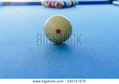 White Ball In A Pool Table And Other Billiard Balls Colorful.