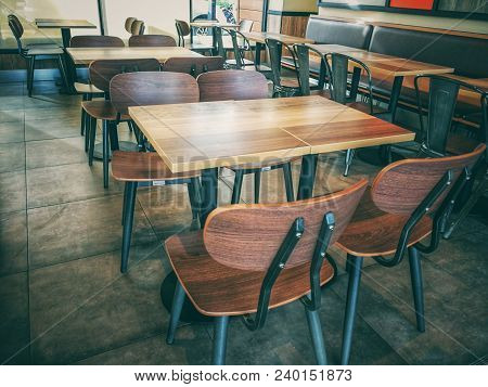 Empty Chair And Table In Cafe Restuarant., Lonely Concept., Business Concept.
