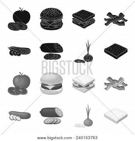 Burger And Ingredients Black, Monochrome Icons In Set Collection For Design. Burger Cooking Vector S
