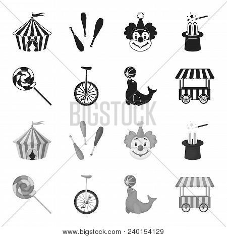Lollipop, Trained Seal, Snack On Wheels, Monocycle.circus Set Collection Icons In Black, Monochrome
