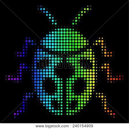 Dotted Impressive Halftone Ladybird Bug Icon In Spectral Color Tinges With Horizontal Gradient On A