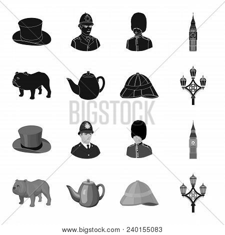 Breed Dog, Teapot, Brewer .england Country Set Collection Icons In Black, Monochrome Style Vector Sy