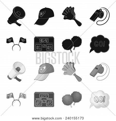 Hoop With Flags And Other Attributes Of The Fans.fans Set Collection Icons In Black, Monochrome Styl