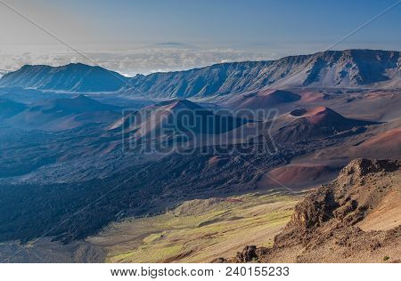 Teh Rugged Landscape Of The Haleakala Volcano Crater On The Island Of Maui