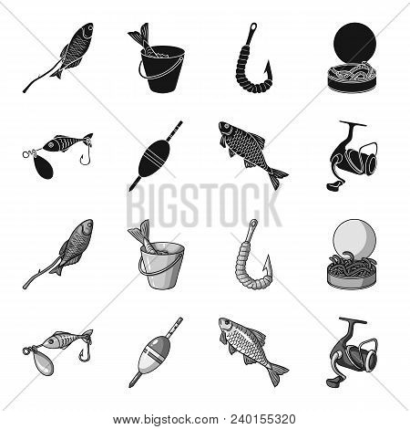 Fishing, Fish, Catch, Hook .fishing Set Collection Icons In Black, Monochrome Style Vector Symbol St