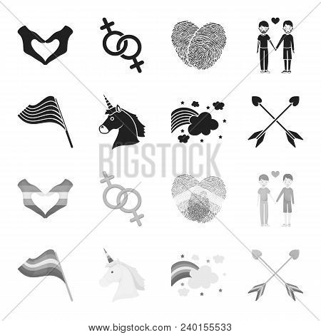 Flag, Unicorn Symbol, Arrows With Heart.gay Set Collection Icons In Black, Monochrome Style Vector S