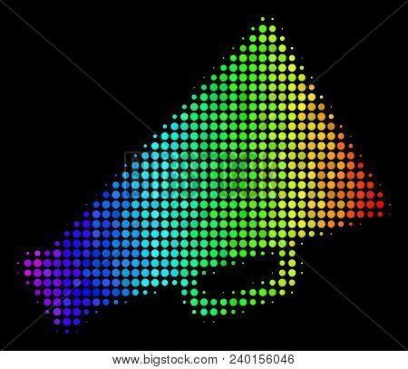 Dot Impressive Halftone Megaphone Icon In Spectral Color Tones With Horizontal Gradient On A Black B