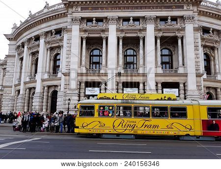 Vienna, Austria - December 16, 2017: Historic Burgtheater (imperial Court Theatre), Austrian Nationa