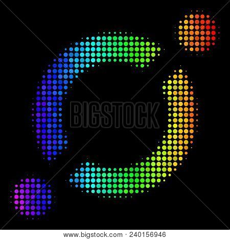 Dot Bright Halftone Node Link Icon Drawn With Spectrum Color Shades With Horizontal Gradient On A Bl