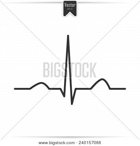 Heartbeat Sign In Flat Design. Electrocardiogram, Ecg, Ekg - Medical Icon.