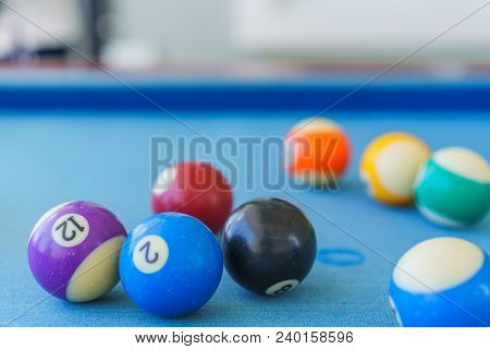 Billiard Old Balls Colorful In A Pool Table.