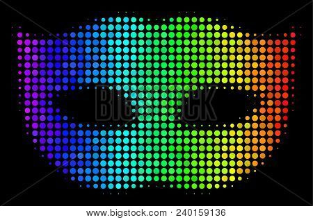 Dotted Impressive Halftone Privacy Mask Icon In Spectral Color Tints With Horizontal Gradient On A B