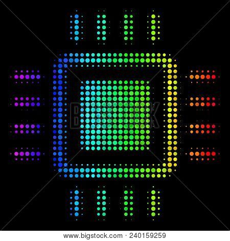 Dotted Impressive Halftone Processor Icon In Spectrum Color Variations With Horizontal Gradient On A