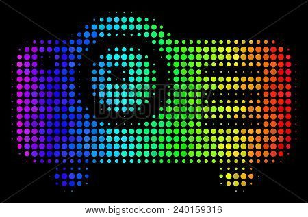 Pixelated Impressive Halftone Projector Icon Using Rainbow Color Tints With Horizontal Gradient On A