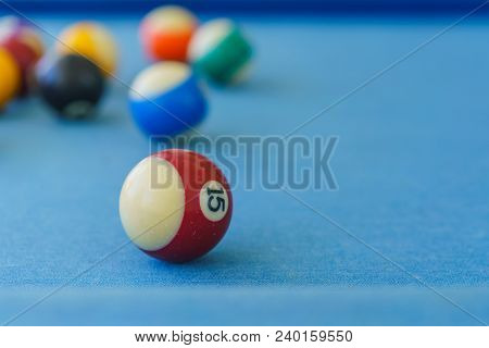 Balls Colorful In A Pool Table, Sport Indoor.