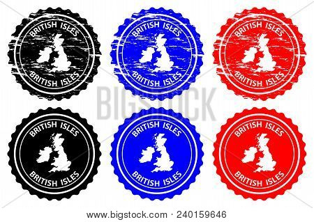 British Isles - Rubber Stamp - Vector, British Isles Map Pattern - Sticker - Black, Blue And Red
