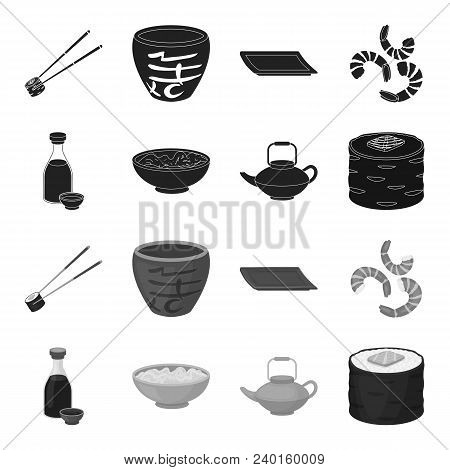 Soy Sauce, Noodles, Kettle.rolls.sushi Set Collection Icons In Black, Monochrome Style Vector Symbol
