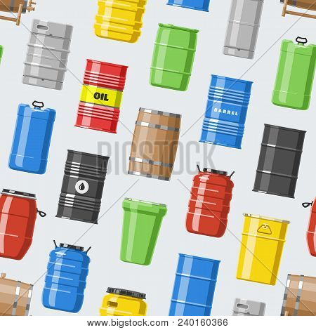 Barrel Vector Oil Barrels With Fuel And Wine Or Beer Barreled In Wooden Casks Illustration Alcohol B