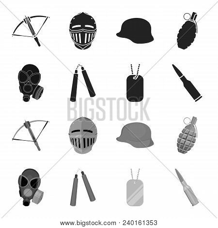 Gas Mask, Nunchak, Ammunition, Soldier Token. Weapons Set Collection Icons In Black, Monochrome Styl