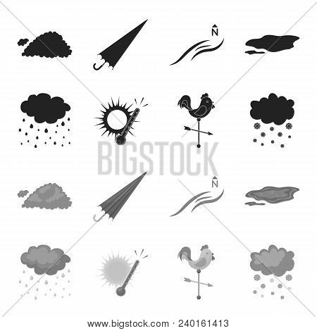 Rain, Snow, Heat, Weathervane. The Weather Set Collection Icons In Black, Monochrome Style Vector Sy