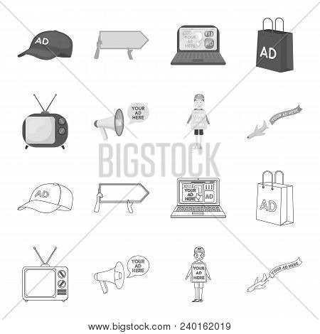 Tv, Megaphone, A Man With A Poster, An Airplane With A Banner.advertising, Set Collection Icons In O