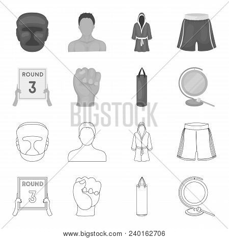 Boxing, Sport, Round, Hand. Boxing Set Collection Icons In Outline, Monochrome Style Vector Symbol S