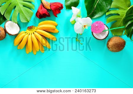Summer Tropical Background With Fruits And Tropical Flowers And Leaves, Overhead View, Space For A T