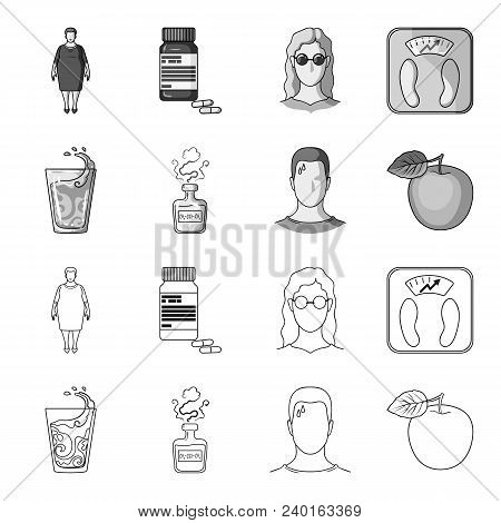 A Glass Of Water, A Bottle Of Alcohol, A Sweating Man, An Apple. Diabeth Set Collection Icons In Out
