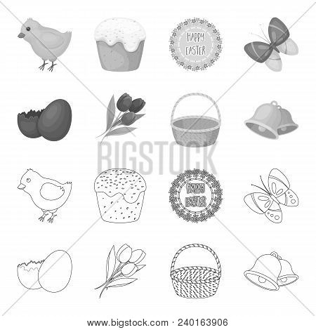 Chocolate Egg, Bells, Basket And Flowers.easter Set Collection Icons In Outline, Monochrome Style Ve